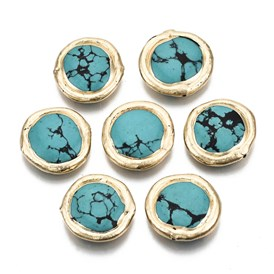 Dyed Synthetic Turquoise Beads, Edge Golden Plated, Flat Round