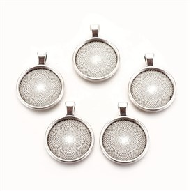Tibetan Style Alloy Pendant Cabochon Settings, Plain Edge Bezel Cups, Lead Free, Flat Round, Tray: 25mm; 36x28x3mm, Hole: 4mm; about 195pcs/1000g