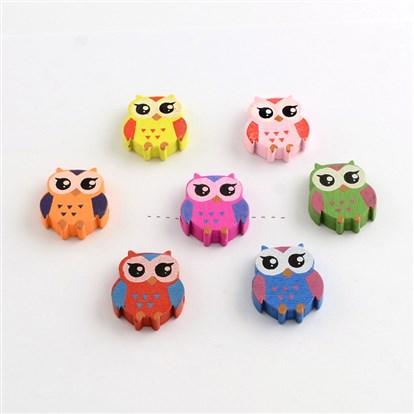 Owl Dyed Wood Beads-1