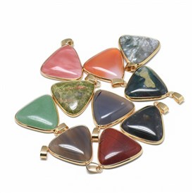 Natural & Synthetic Mixed Stone Pendants, with Golden Tone Iron Snap On Bails, Triangle
