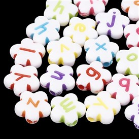 Opaque Acrylic Beads, Alphabet Style, Flower with Letter, Random Letters