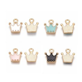 Alloy Charms, with Enamel, Crown, Light Gold