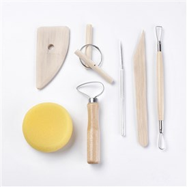 Wooden Handle Pottery Tools, with Stainless Steel Findings, Ceramics Sculpture Modelling Kit