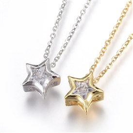 304 Stainless Steel Pendant Necklaces, with Cubic Zirconia, Star