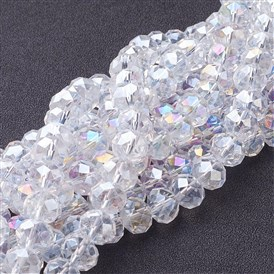 Electroplate Glass Beads Strands, AB Color Plated, Faceted, Abacus