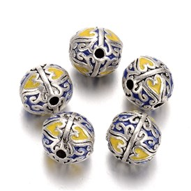 Antique Silver Plated Alloy Enamel Round Beads, 14mm, Hole: 2.5mm