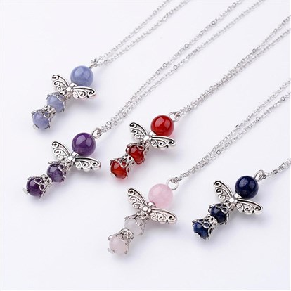 Natural Gemstone Pendant Necklaces, with Alloy Findings and Brass Chains, Angel-1