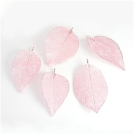 Electroplated Natural Leaf Big Pendants, with Iron Findings