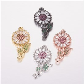 Brass Micro Pave Cubic Zirconia Links, Flower, Colorful