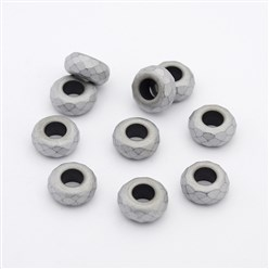 Silver Plated Frosted Faceted Rondelle Electroplated Non-magnetic Synthetic Hematite Beads, Large Hole Beads, Silver Plated, 13x6.5mm, Hole: 6mm