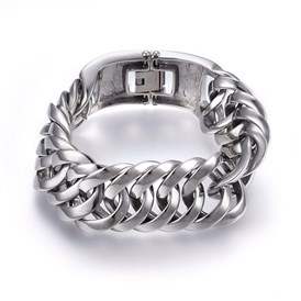 304 Stainless Steel Curb Chains Bracelets, with Fold Over Clasps