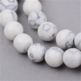 Synthetic Howlite Beads Strands, Round, Frosted