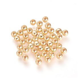 Brass Beads, Real Gold Plated, Round