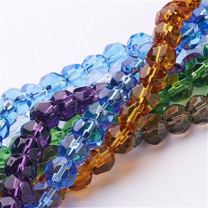 Half-Handmade Transparent Glass Beads Strands, Faceted Round-1