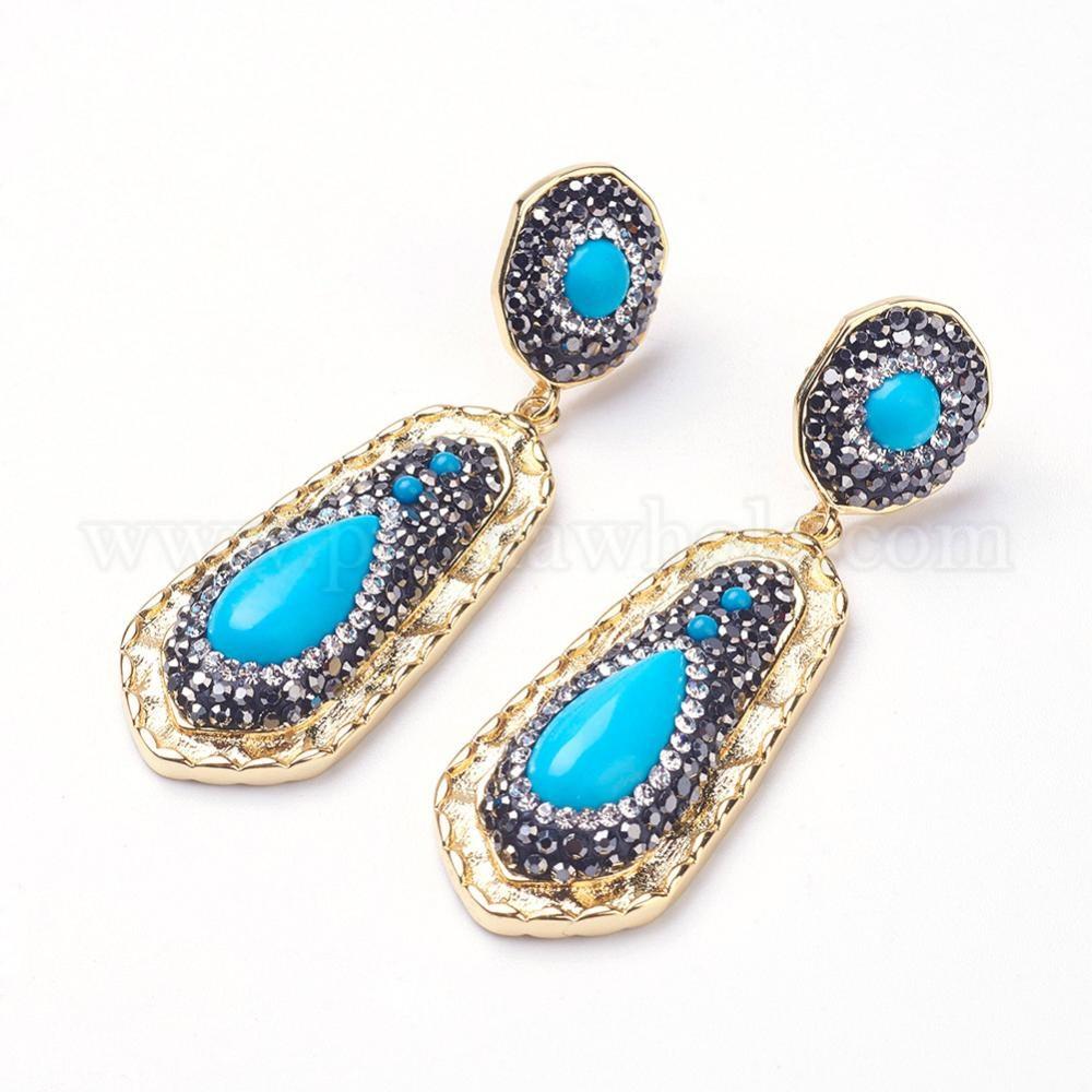 Wholesale Dyed Synthetic Turquoise Dangle Stud Earrings