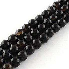 Natural Black Agate Round Bead Strands, Dyed
