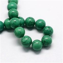SeaGreen Dyed Synthetic Turquoise Gemstone Bead Strands, Round, SeaGreen, 6mm, Hole: 1mm; about 66pcs/strand, 15.7""