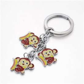 Girl's Platinum Plated Zinc Alloy Enamel Monkey Pendant Keyrings Key Chains, 106x25mm