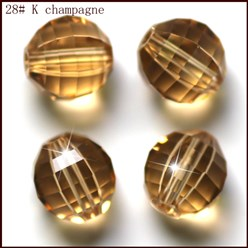 Gold Imitation Austrian Crystal Beads, Grade AAA, Faceted, Round, Gold, 10mm, Hole: 0.9~1mm