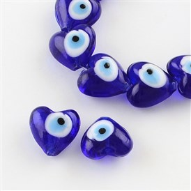 Heart Evil Eye Lampwork Bead Strands, 13~15x15x9mm, Hole: 2mm; about 24pcs/strand, 11.4""