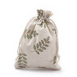 Teal Polycotton(Polyester Cotton) Packing Pouches Drawstring Bags, with Printed Leaf, Teal, 18x13cm