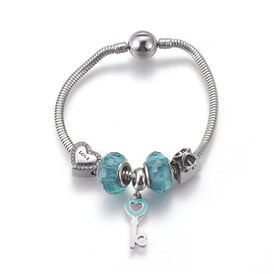 304 Stainless Steel European Bracelets, with Resin Beads and Enamel Dangle Charms
