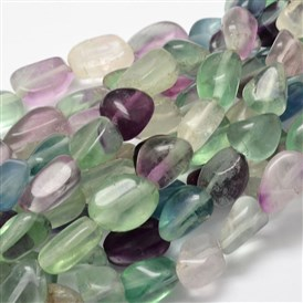 Natural Fluorite Nuggets Bead Strands, 13~18x10~13mm, Hole: 1mm; about 21~26pcs/strand, 15.74""