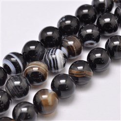 "Black Natural Striped Agate/Banded Agate Bead Strands, Dyed & Heated, Round, Grade A, Black, 14mm, Hole: 2mm; about 28pcs/strand, 14.9""(380mm)"