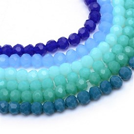 Opaque Solid Glass Bead Strands, Faceted Round