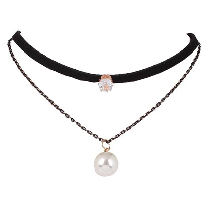 "Gothic Imitation Leather Choker Necklaces, Two Tiered, with Round Rhinestone and Imitation Pearl, 12.9""-1"