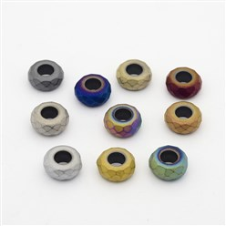 Mixed Color Frosted Faceted Rondelle Electroplated Non-magnetic Synthetic Hematite Beads, Large Hole Beads, Mixed Color, 13x6.5mm, Hole: 6mm