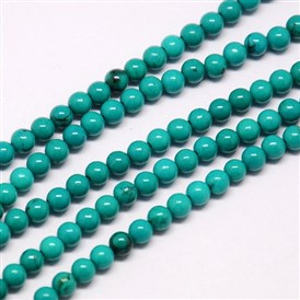 Natural Sinkiang Turquoise Beads Strands, Dyed, Round