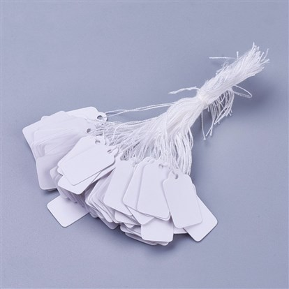 White Rectangle Jewelry Price Tags, Item Price Label with String Price Paper Display for Goods Tags, Rectangle, 23x13mm