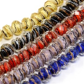 Handmade Faceted Swirl Gold Sand Lampwork Rondelle Beads Strands, 10x7mm, Hole: 1mm; about 50pcs/strand, 14.96""