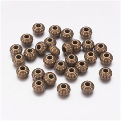 Antique Bronze Tibetan Silver Beads, Lead Free and Cadmium Free, Flat Round, Antique Bronze, about 6mm long, 6mm wide, 4.5mm thick, hole: 1.5mm.
