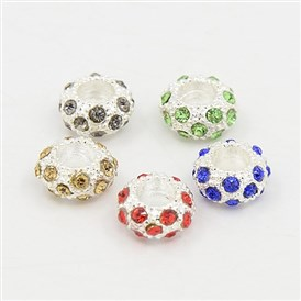 Alloy Rhinestone European Beads, Large Hole Beads, Rondelle, 11x6mm, Hole: 5mm