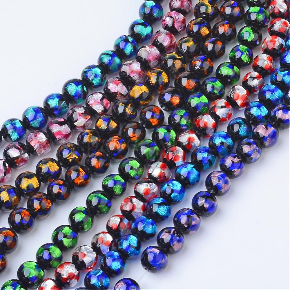 Wholesale handmade silver foil glass beads round in bulk