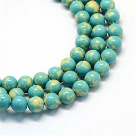 Synthetic Turquoise Gemstone Bead Strands, Round, Dyed