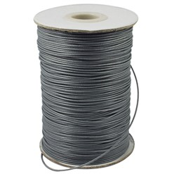 Gray Korean Waxed Polyester Cord, Bead Cord, Gray, 0.8mm; about 185yards/roll