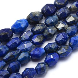 Natural Lapis Lazuli Beads Strands, Oval, Faceted