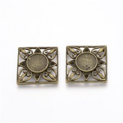 Antique Bronze Tibetan Style Alloy Cabochon Settings, Square, Antique Bronze, Tray: 12mm; Fit for 2mm Rhinestone; 26x26x4mm