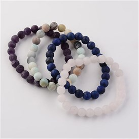 Natural Gemstone Beads Stretch Bracelets, Frosted, Round
