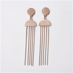 Rose Gold 304 Stainless Steel Stud Earrings, Dangle Earrings, Rose Gold, 76.5x17x1.3mm; Pin: 0.7mm