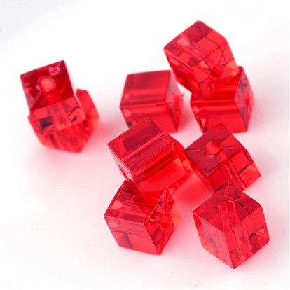 Transparent Acrylic Beads, Cube-1
