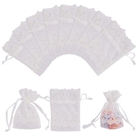 Organza Gift Bags with Lace, Rectangle