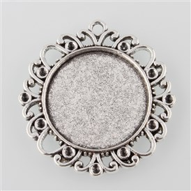 Tibetan Style Alloy Flower Pendant Cabochon Settings, Tray: 25mm; Fit for 2mm Rhinestone; 41x38x3mm, Hole: 2mm about 114pcs/1000g