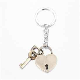 Alloy Key Chains, with Iron Findings, Heart Lock and Key