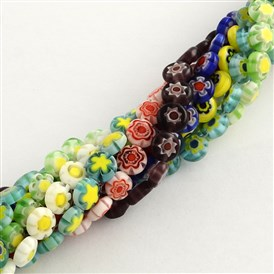 Handmade Millefiori Glass Bead Strands, Flat Round, 8x4mm, Hole: 1mm; about 50pcs/strand, 15.3""