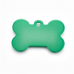 Green Pet Aluminium Pendants, Blank Stamping Tag, Bone, Green, 25x38x1mm, Hole: 2.5mm