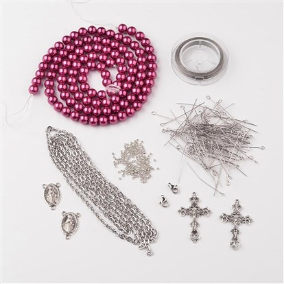 DIY Jewelry Material Packages, Including Tibetan Silver Pendants, Glass Pearl Beads, Stainless Steel Findings, Chain and Tiger Tail-1